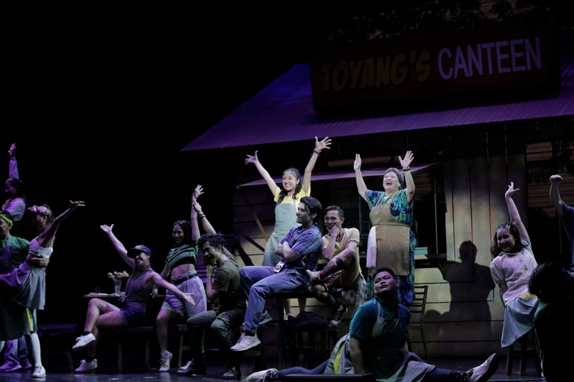 (Foreground seated L-R) Boo Gabunada, Bibo Reyes and Phi Palmos, and (standing in back L-R) Gab Pangilinan and Sheila Francisco in a scene from the musical Ang Huling El Bimbo